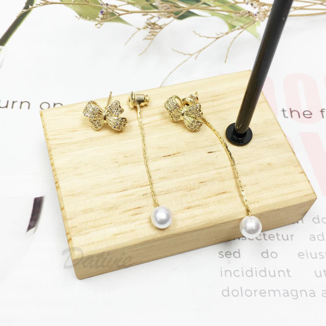 韓國 925純銀 水鑽 珍珠 蝴蝶結 後扣式 垂墜感 耳針式 耳環
