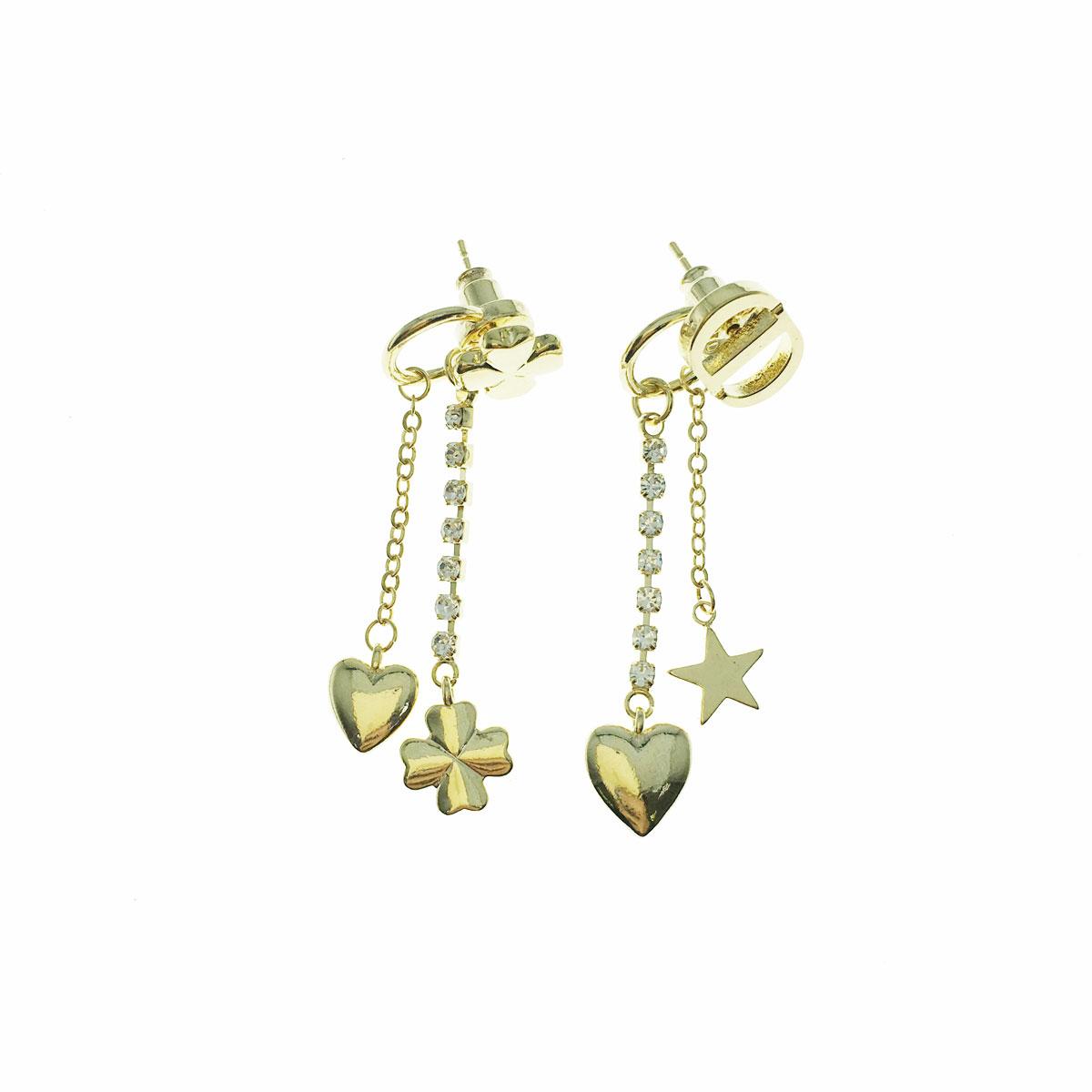 韓國 925純銀 水鑽 幸運草 愛心 星星 CD 後扣式 不對稱 垂墜感 耳針式 耳環