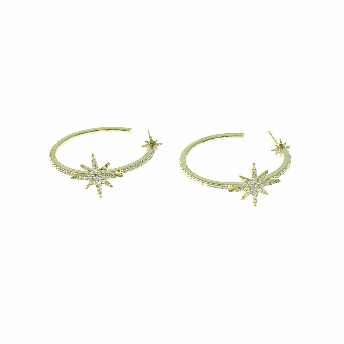 韓國 925純銀 水鑽 星星 C字形 耳針式 耳環