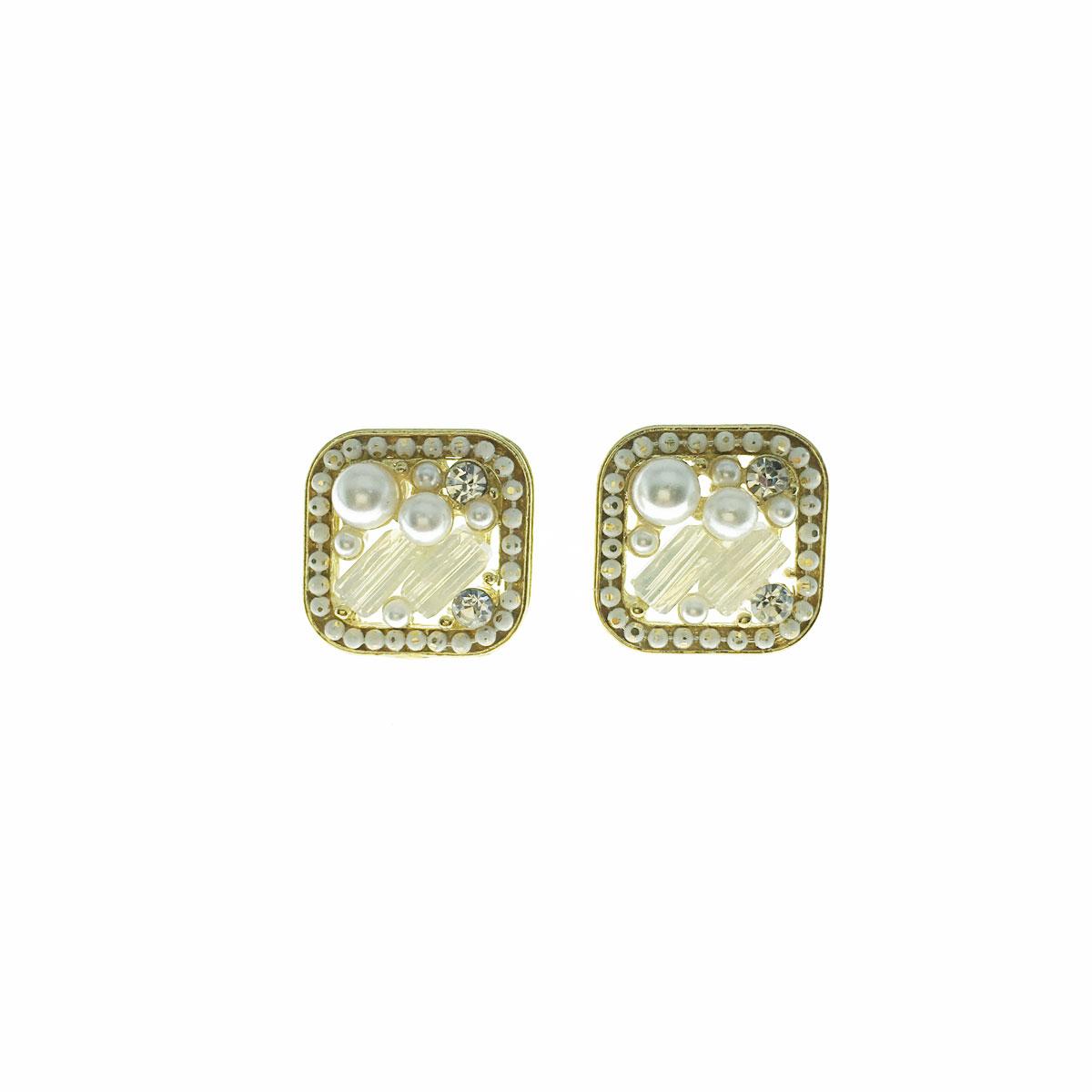 韓國 925純銀 水鑽 珍珠 方形 耳針式 耳環