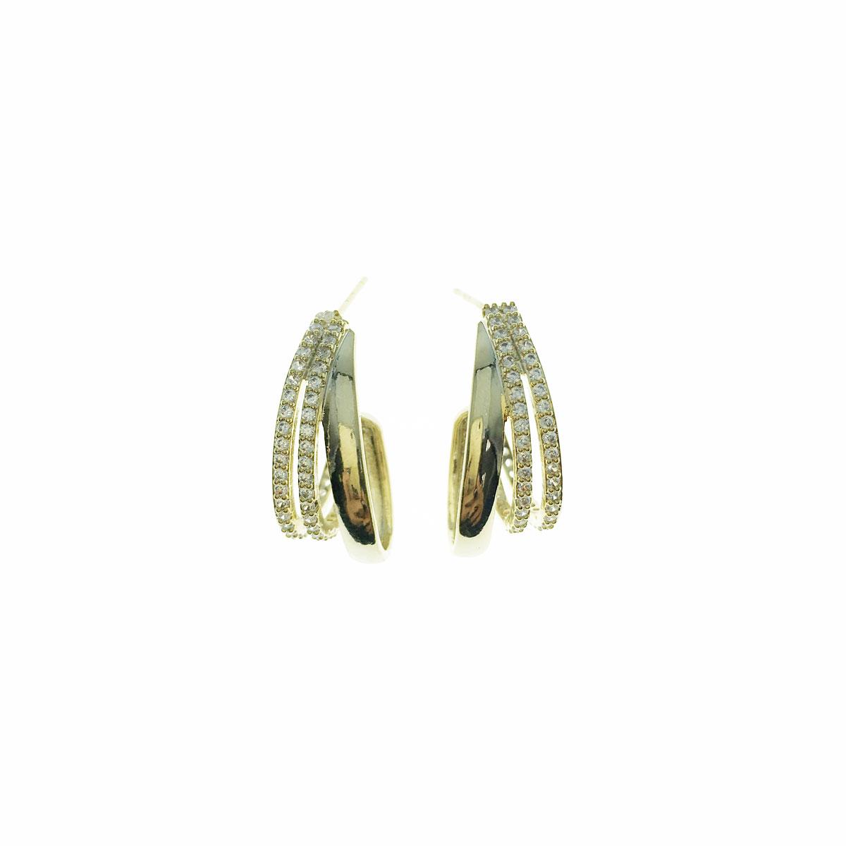 韓國 925純銀 水鑽 簡約 C字型 垂墜感 耳針式 耳環