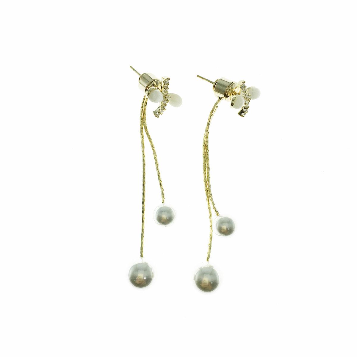 韓國 925純銀 水鑽 珍珠 貓眼 蝴蝶結 後扣式 垂墜感 耳針式 耳環