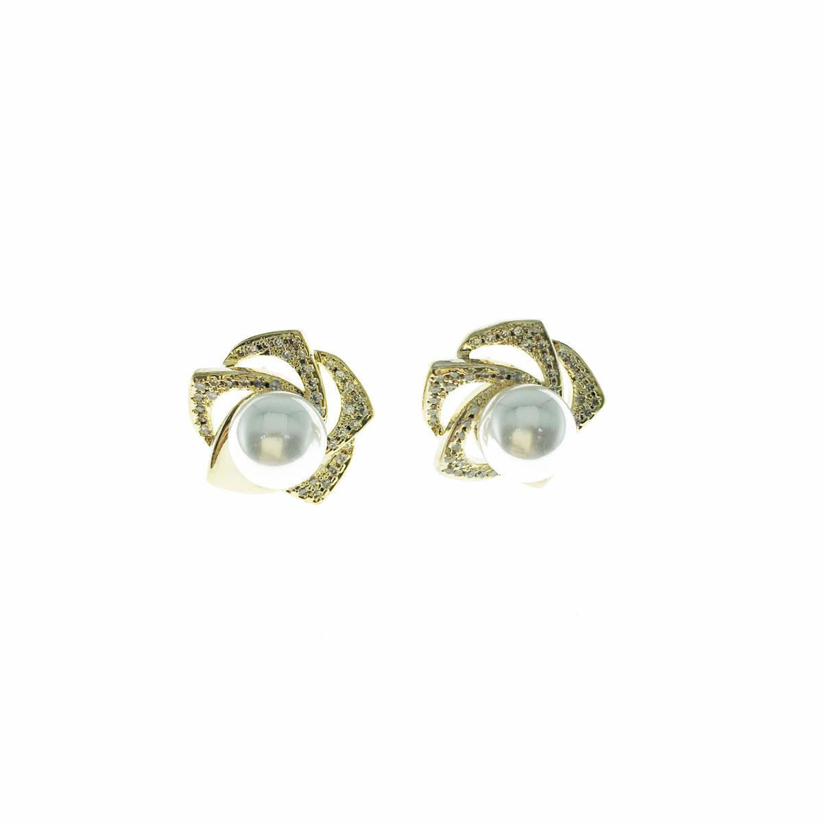 韓國 925純銀 水鑽 珍珠 花朵 簍空 耳針式 耳環
