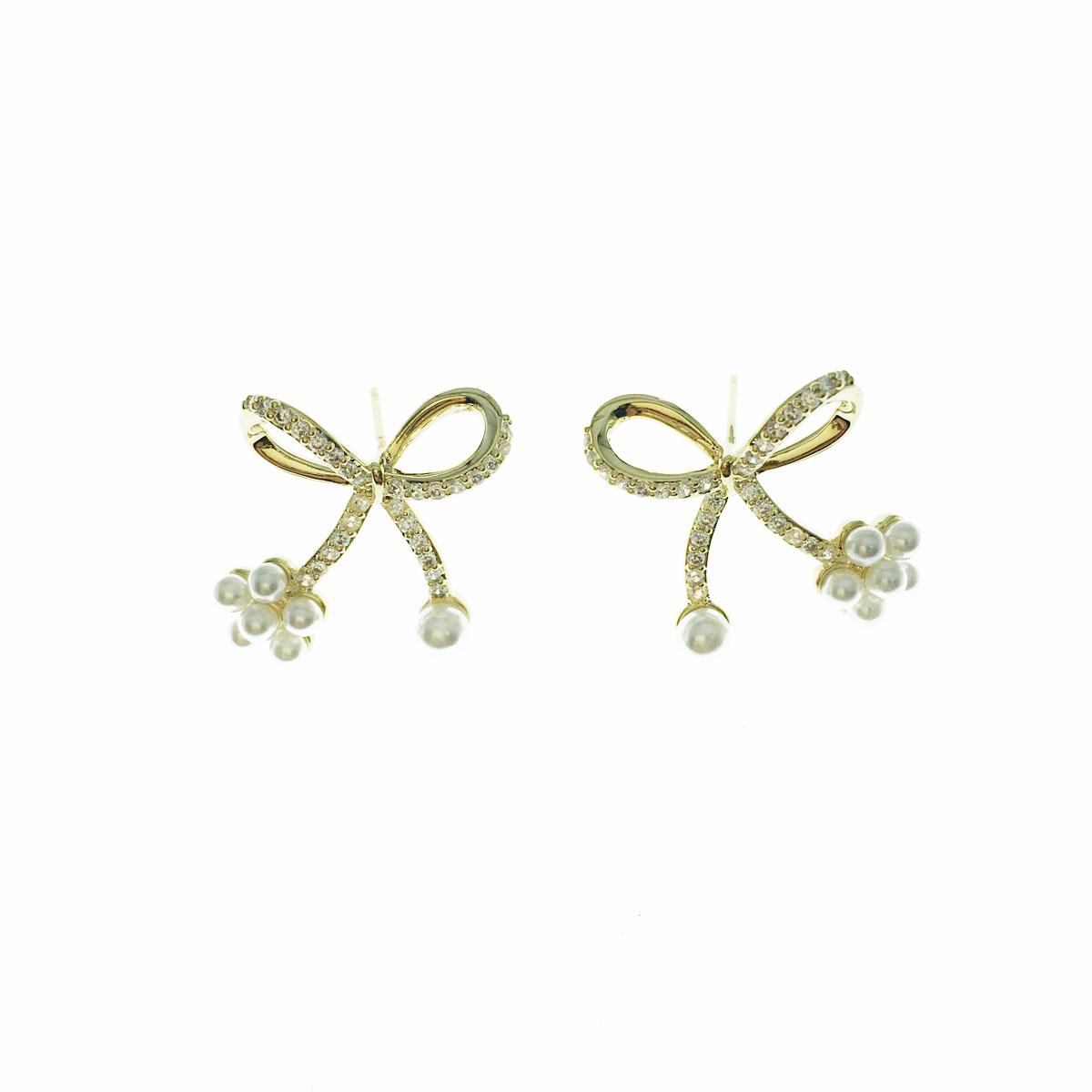 韓國 925純銀 水鑽 珍珠 花朵 蝴蝶結 耳針式 耳環