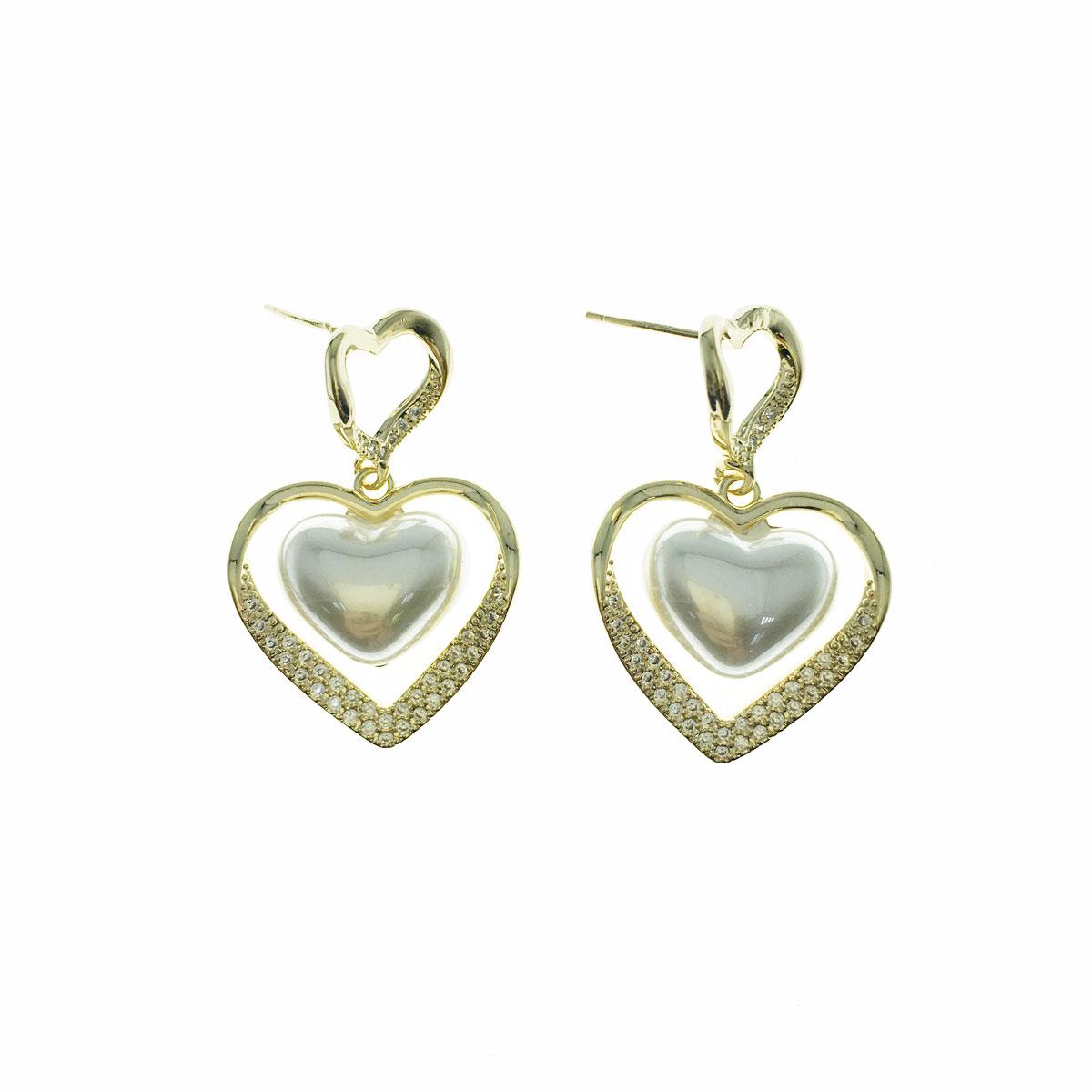 韓國 925純銀 水鑽 珍珠 愛心 簍空 垂墜感 耳針式 耳環