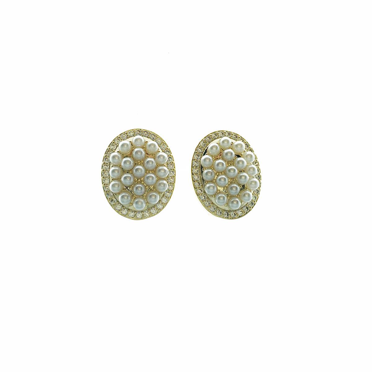 韓國 925純銀 水鑽 珍珠 圓 簡約風 耳針式 耳環