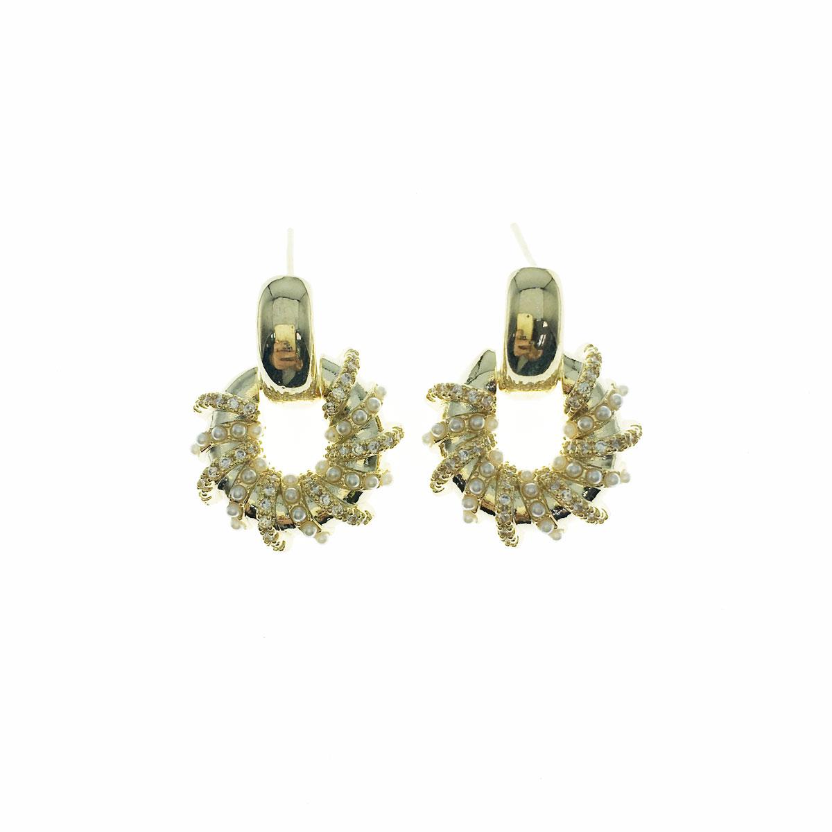 韓國 925純銀 水鑽 珍珠 金屬感 簍空 垂墜感 耳針式 耳環