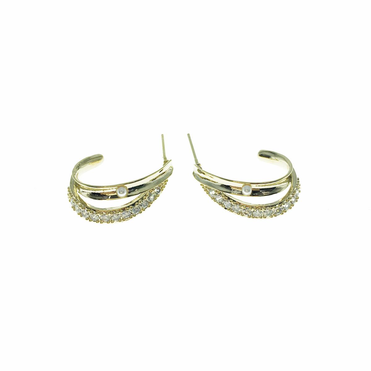 韓國 925純銀 水鑽 珍珠 金邊 C字型 耳針式 耳環
