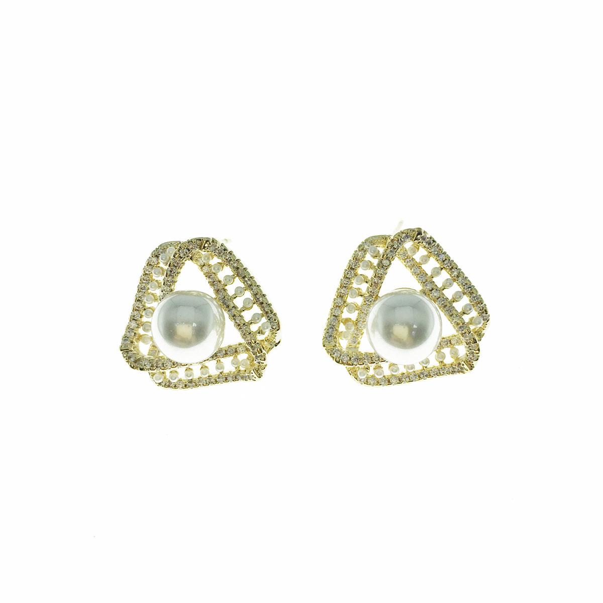 韓國 925純銀 水鑽 珍珠 三角形 簍空 耳針式 耳環