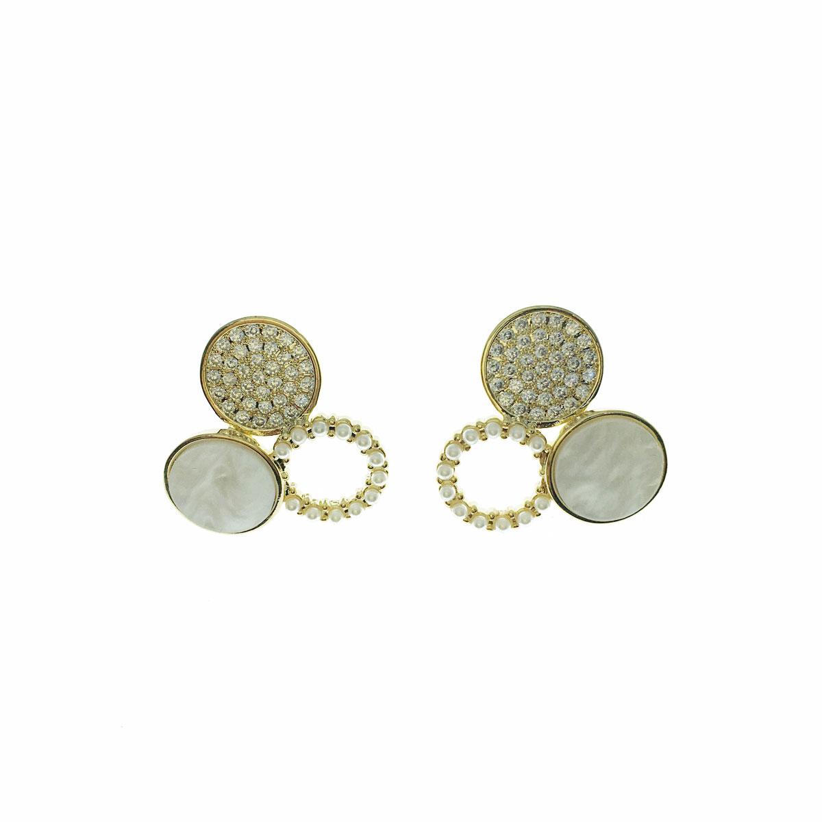 韓國 925純銀 水鑽 珍珠 理石 圓 簍空 耳針式 耳環