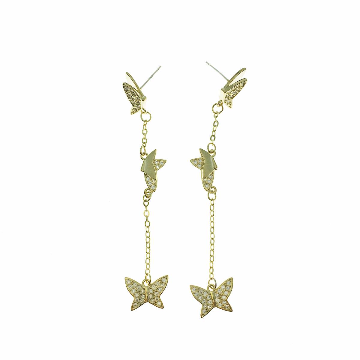 韓國 925純銀 水鑽 蝴蝶 垂墜感 耳針式 耳環