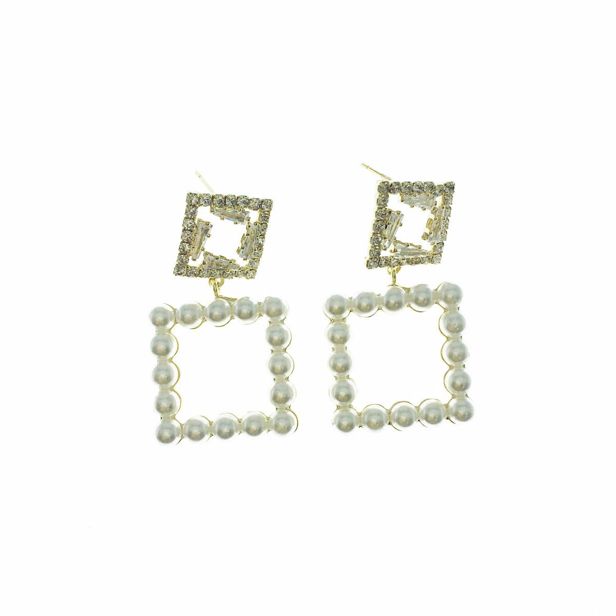 韓國 925垂銀 水鑽 珍珠 方形 簍空 垂墜感 耳針式 耳環