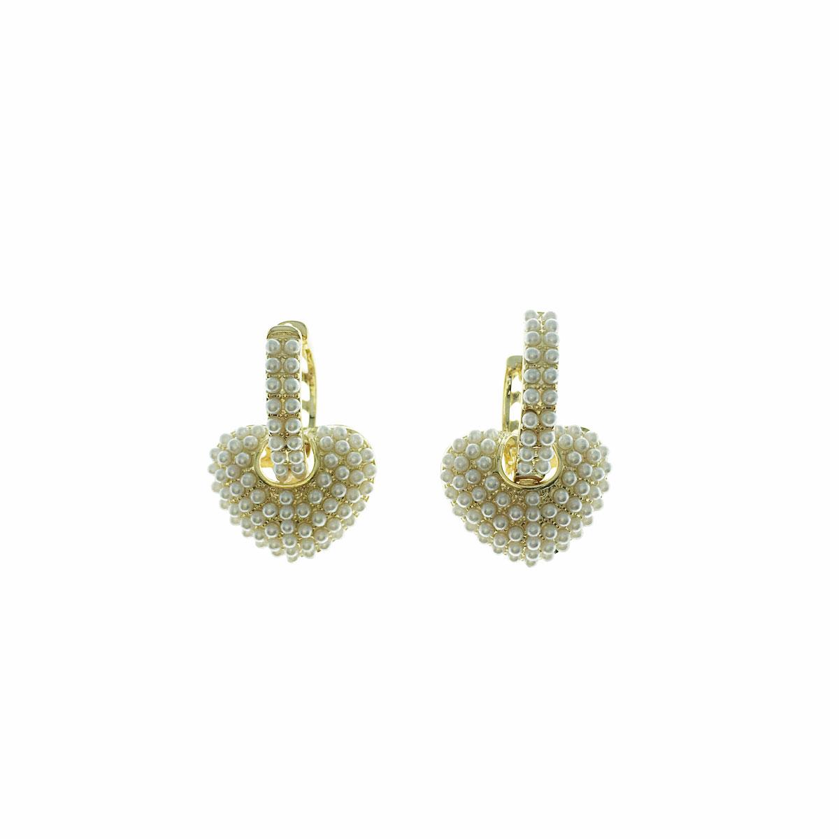 韓國 925純銀 珍珠 愛心 立體 垂墜感 耳針式 耳環