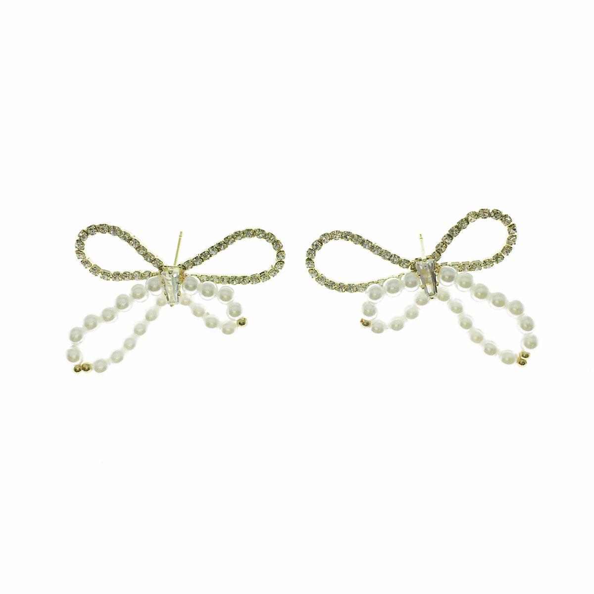 韓國 925純銀 水鑽 珍珠 蝴蝶結 簍空 耳針式 耳環