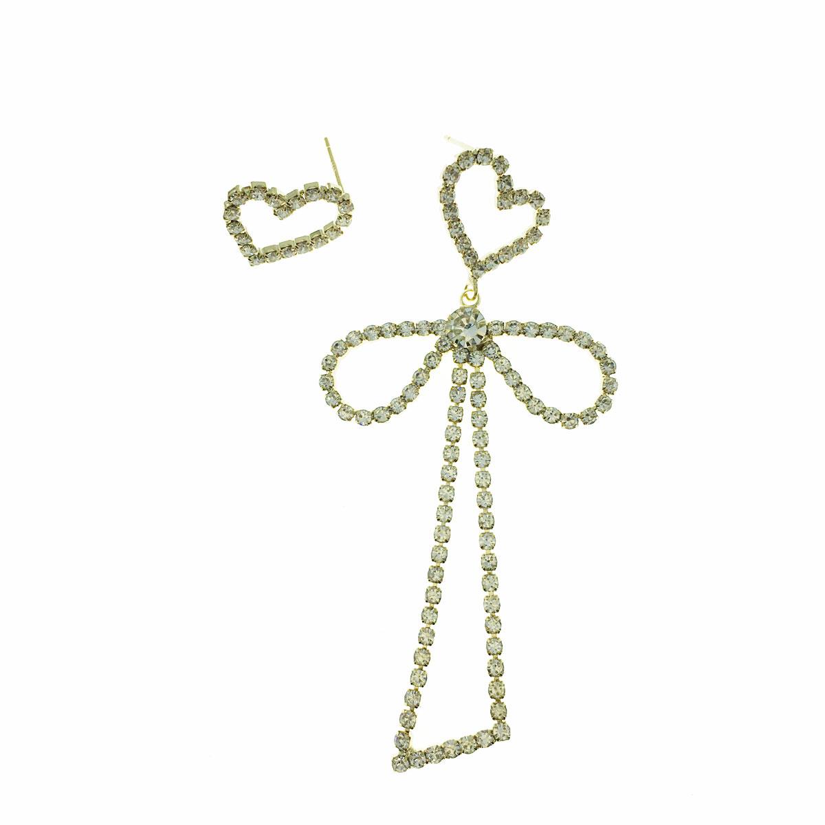 韓國 925純銀 水鑽 愛心 蝴蝶結 簍空 不對稱 垂墜感 耳針式 耳環