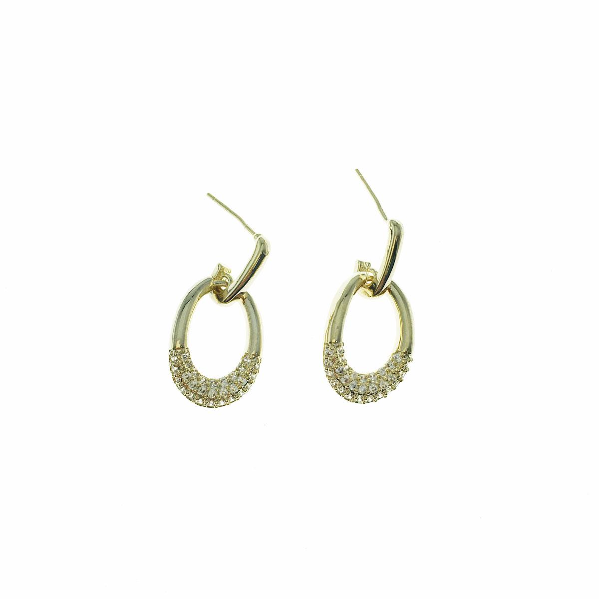 韓國 925純銀 水鑽 簡約 圓 簍空 垂墜感 耳針式 耳環