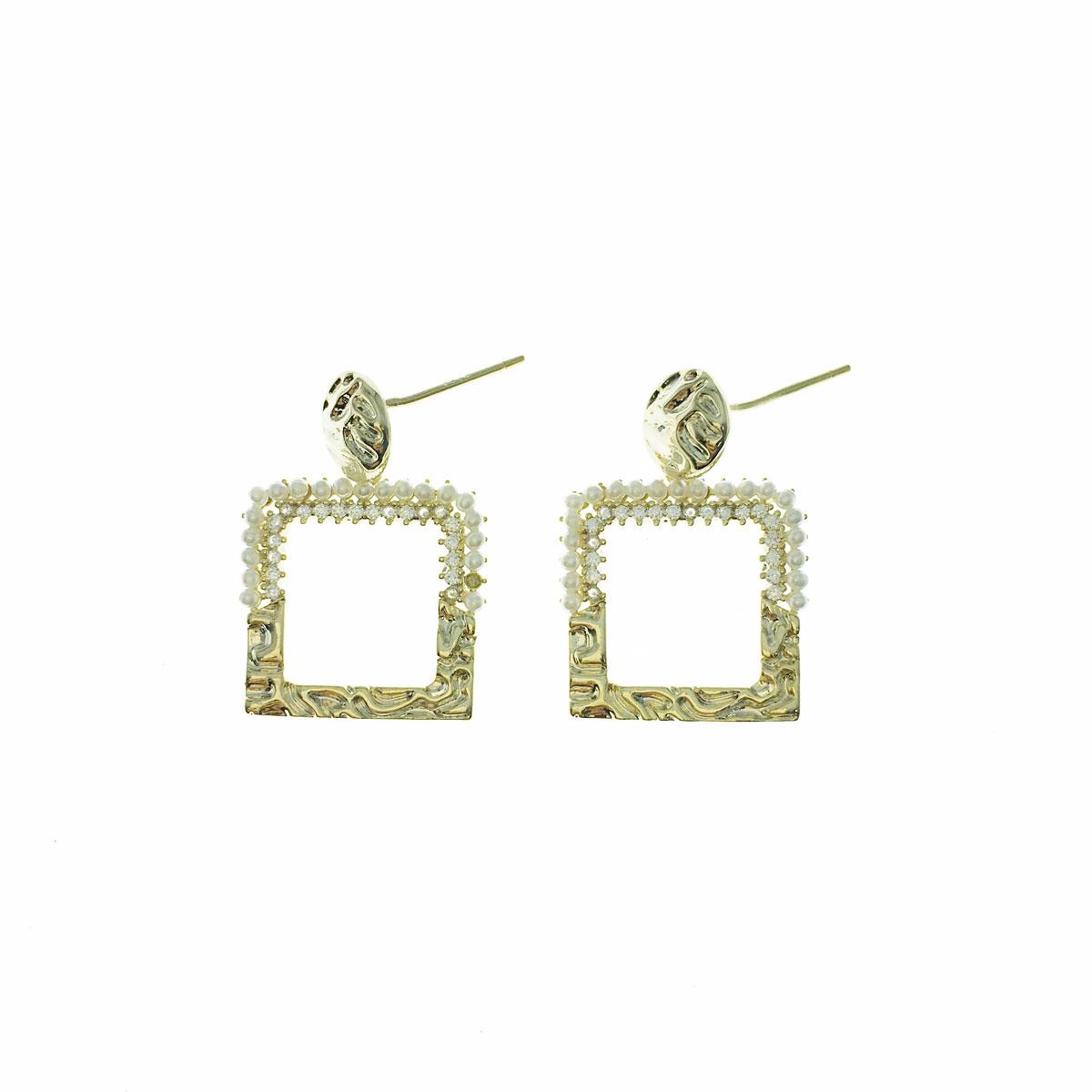 韓國 925純銀 珍珠 簡約 方形 簍空 垂墜感 耳針式 耳環