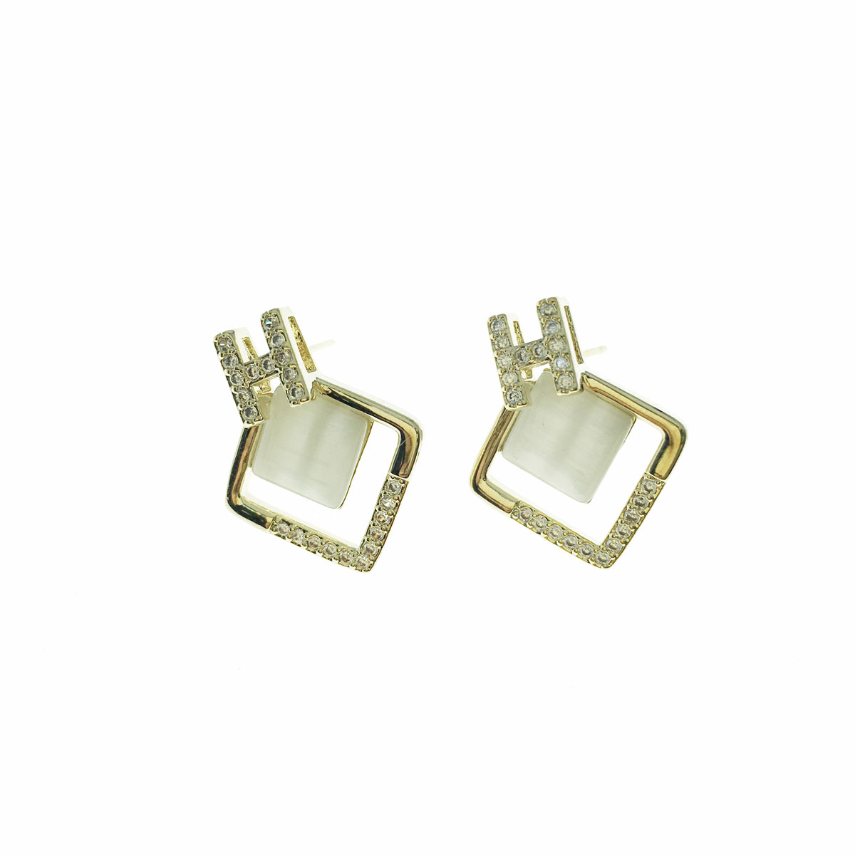 韓國 925純銀 水鑽 H 方形 簍空 耳針式 耳環