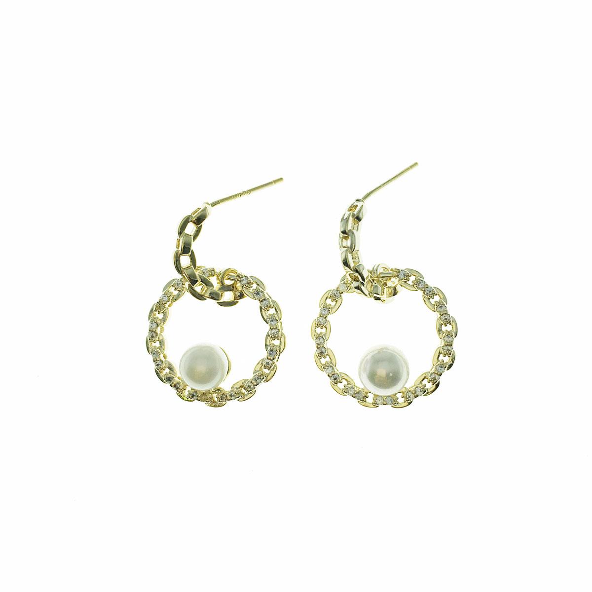 韓國 925純銀 水鑽 珍珠 圓 簍空 C字型 垂墜感 耳針式 耳環