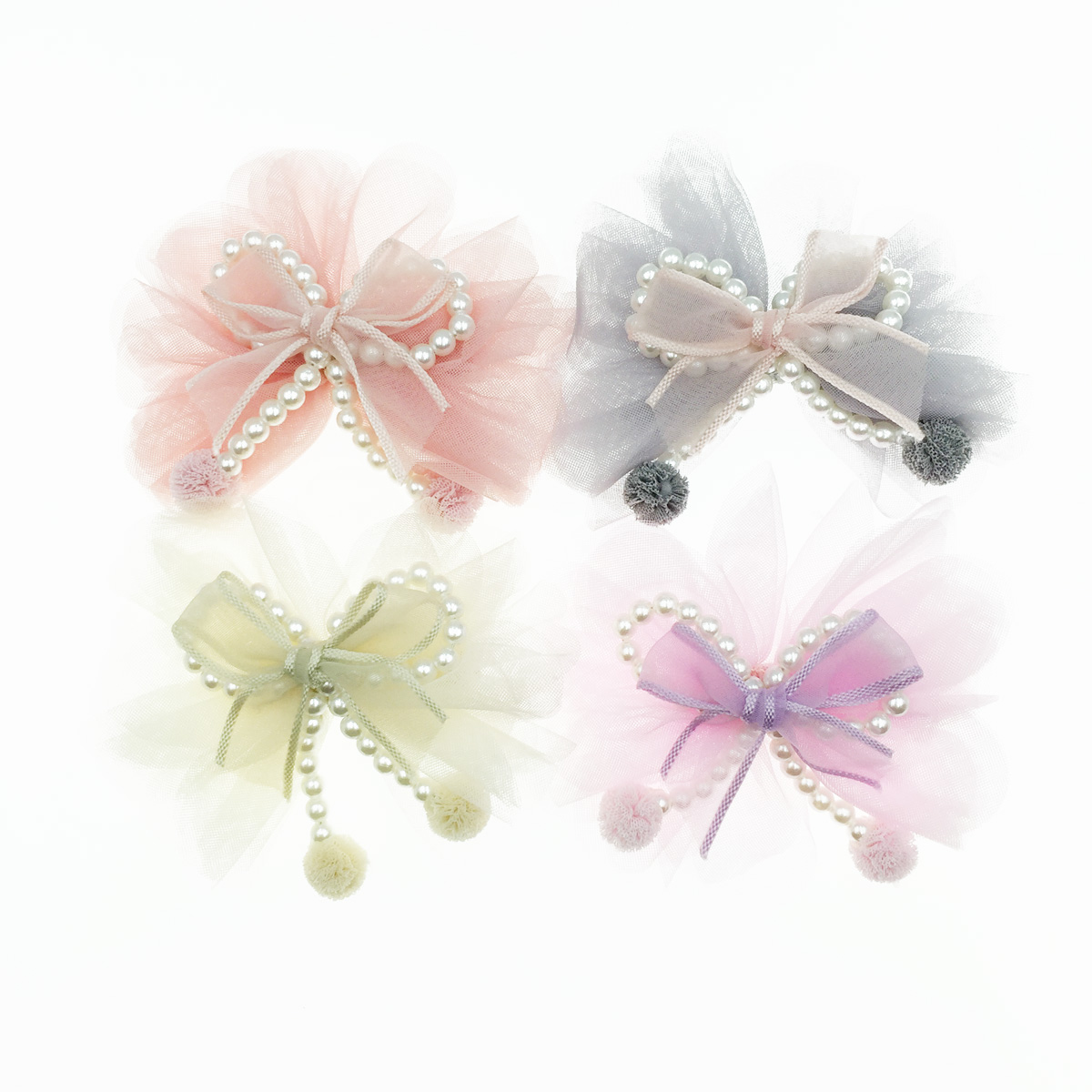 韓國 蝴蝶結 珍珠 紗 髮夾 壓夾 兒童髮飾
