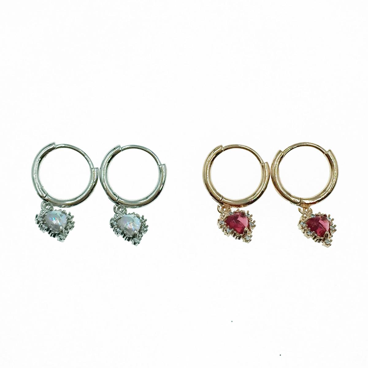 韓國 925純銀 愛心 水鑽 2色 易扣式 針式耳環