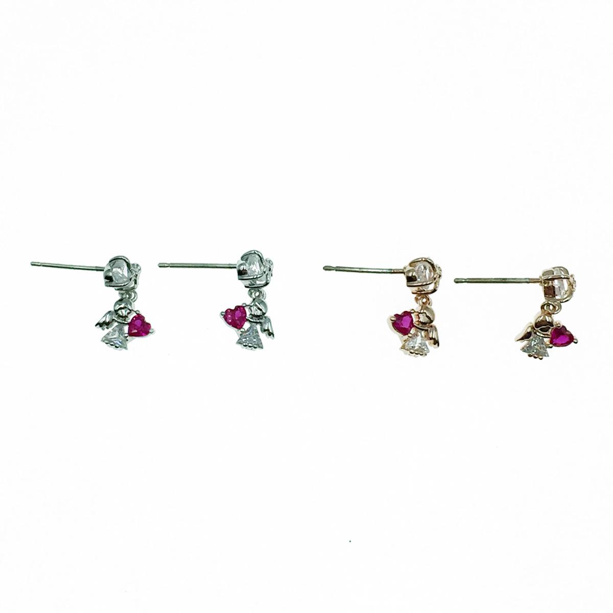 韓國 925純銀 小天使 愛心 水鑽 垂墜感 耳針式耳環