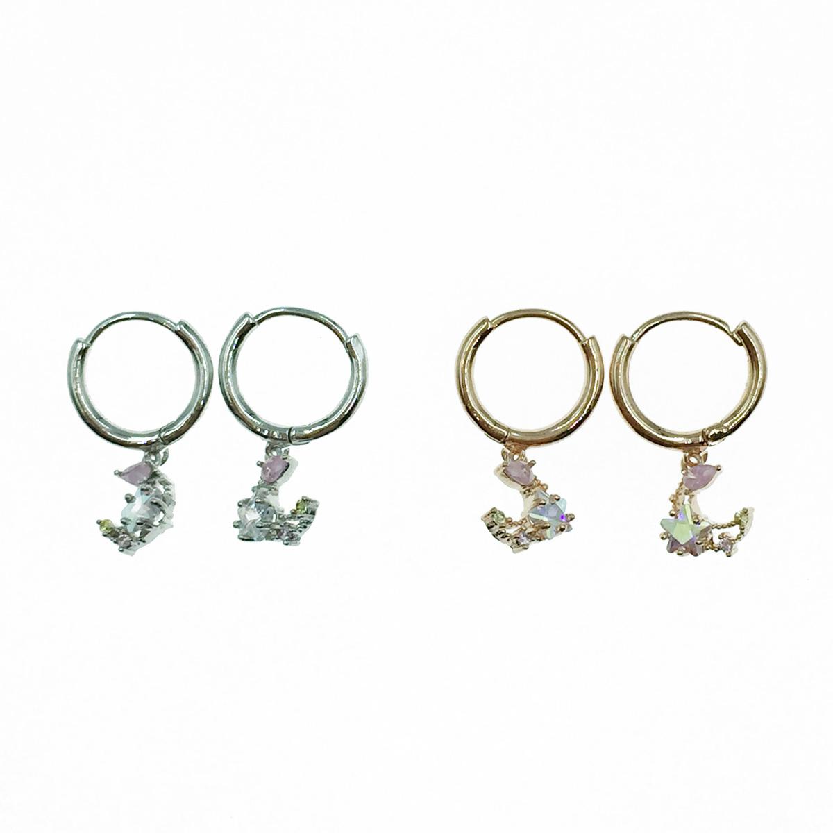 韓國 925純銀 星星月亮 水鑽 2色 易扣式 針式耳環