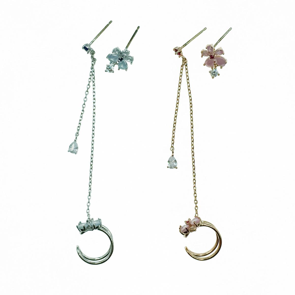 韓國 925純銀 不對稱 花 水鑽 耳骨夾 耳針式耳環