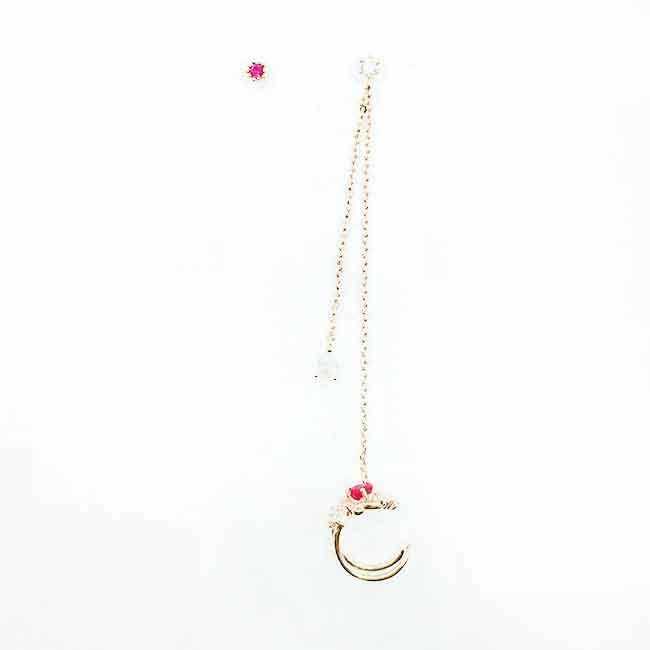 韓國 925純銀 水鑽 不對稱 垂墜感 耳骨夾 耳針式耳環