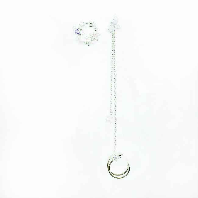 韓國 925純銀 花 水鑽 不對稱 耳骨夾 耳針式耳環