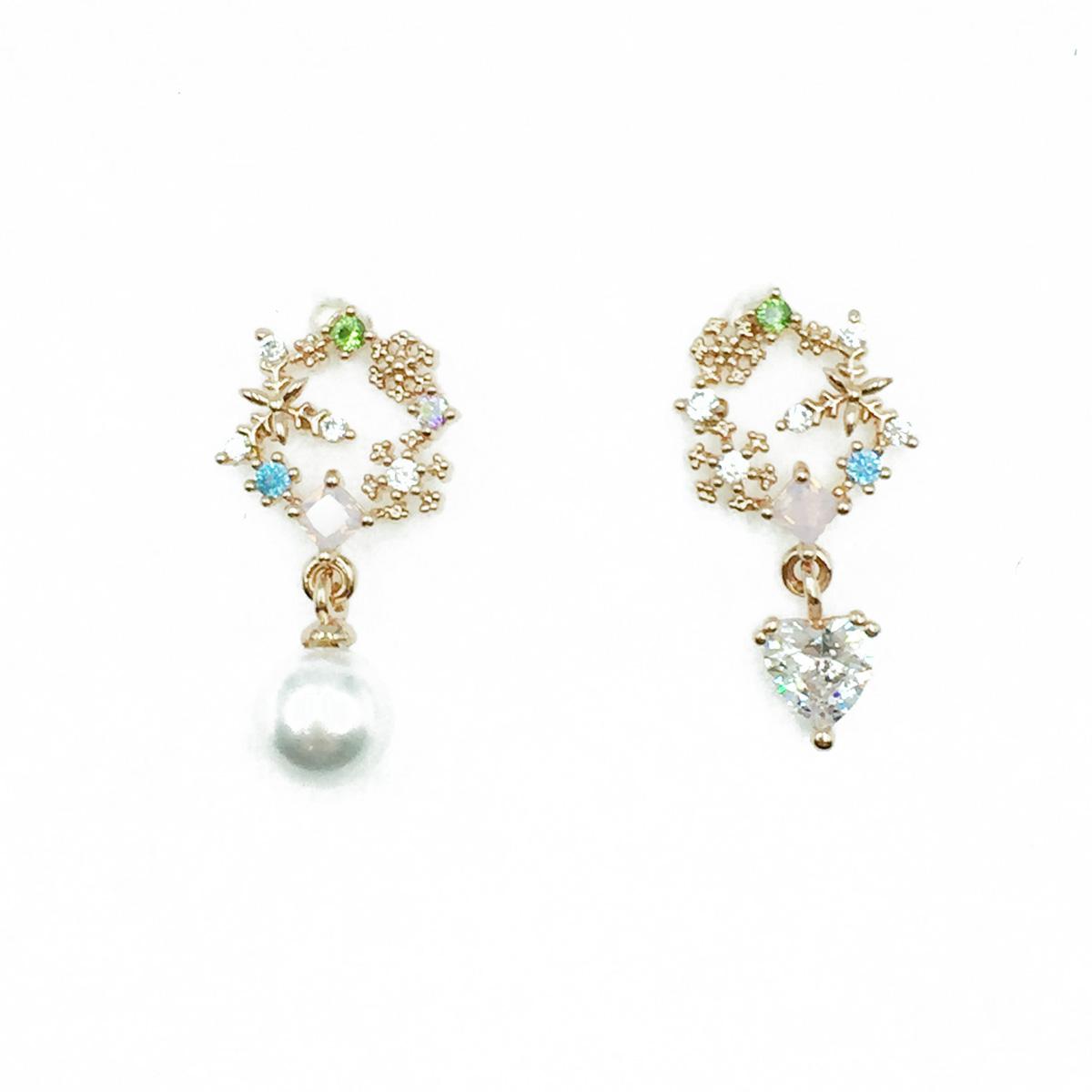 韓國 925純銀 水鑽 花圈 不對稱 珍珠 垂墜感 耳針式耳環