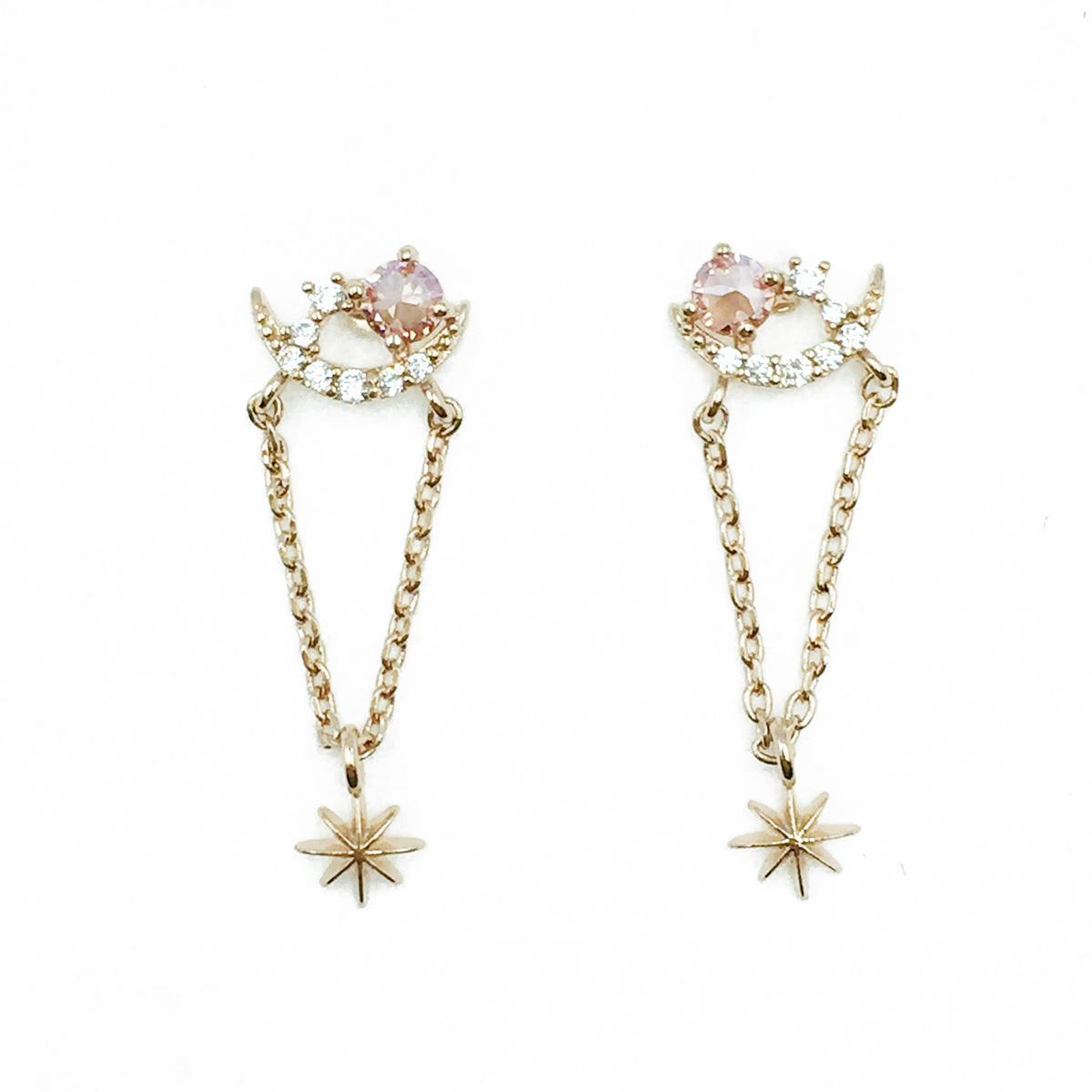 韓國 925純銀 水鑽 星茫 光茫 垂墜感 耳針式耳環