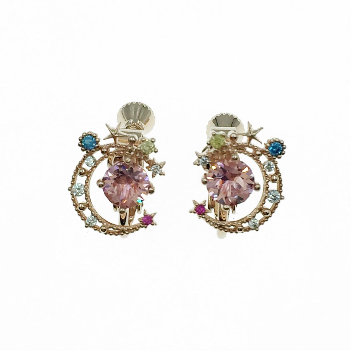 韓國 月亮 水鑽 玫瑰金 精緻款 夾式耳環