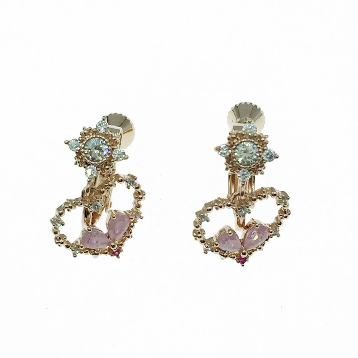 韓國 愛心 水鑽 精緻款 玫瑰金 垂墜感 夾式耳環