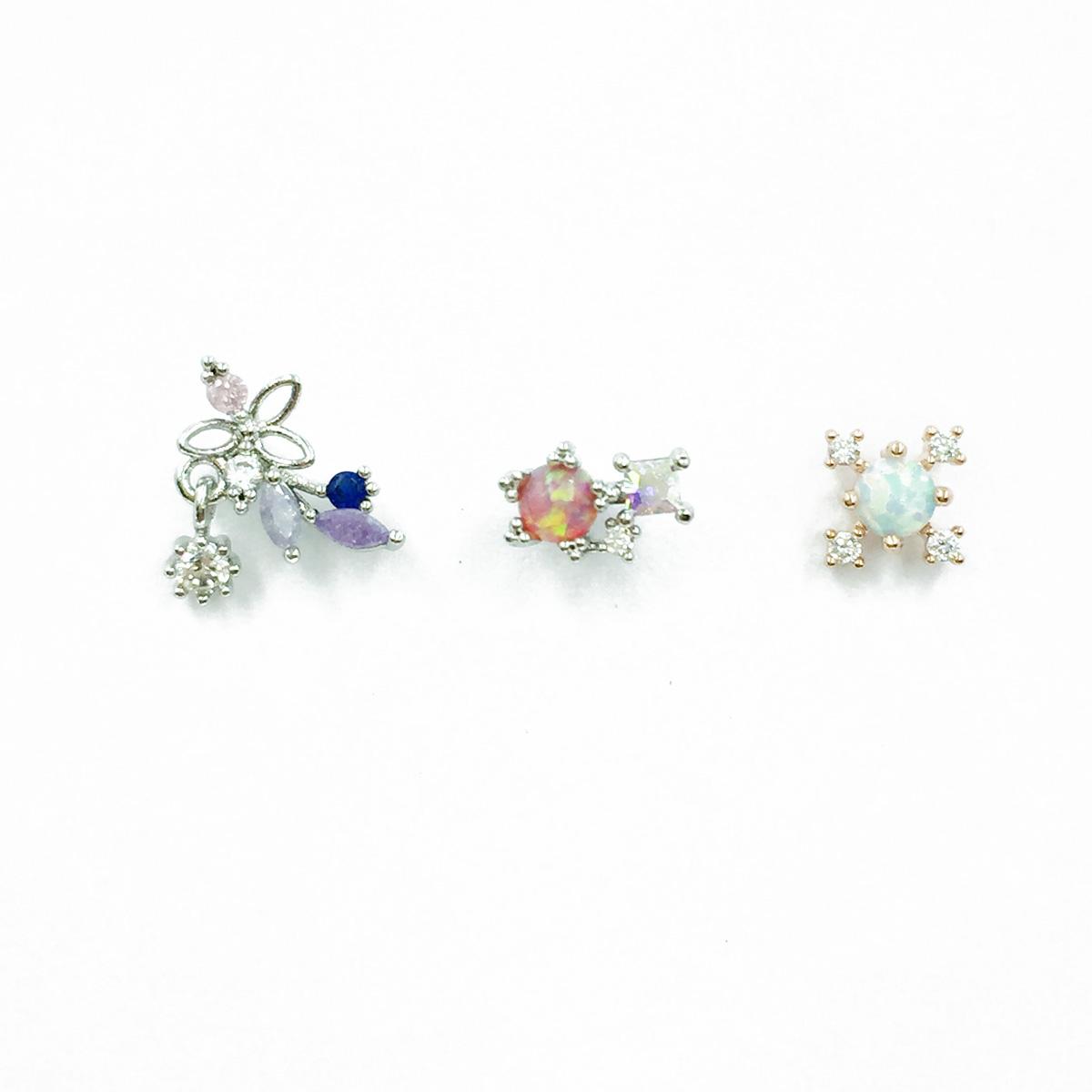 韓國 不鏽鋼 水鑽 花 精緻 單支後轉 耳針式耳環