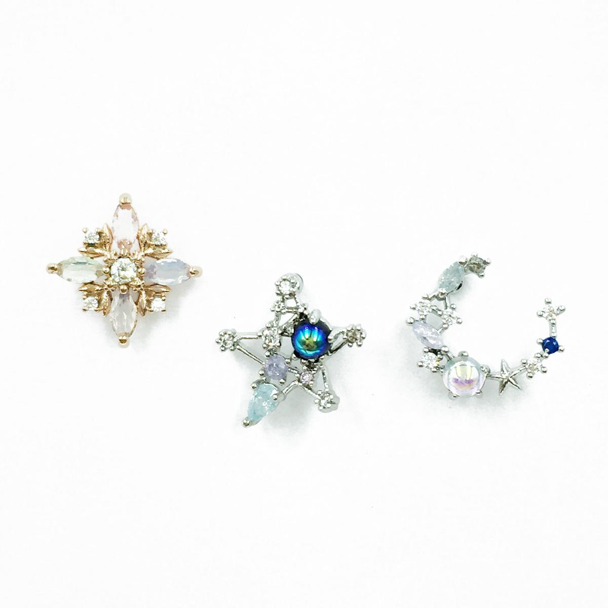 韓國 不鏽鋼 星星月亮 水鑽 單支後轉 耳針式耳環