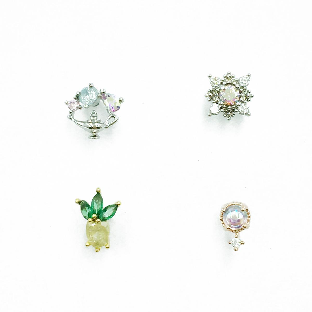 韓國 不鏽鋼 水鑽 鳳梨 神燈 單支後轉 耳針式耳環