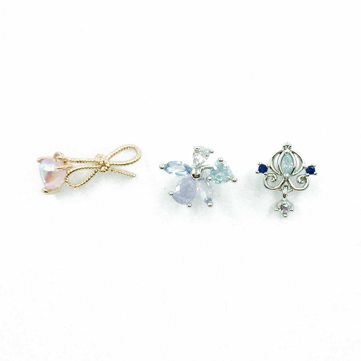 韓國 不鏽鋼 愛心 蝴蝶結 花 水鑽 單支後轉 耳針式耳環