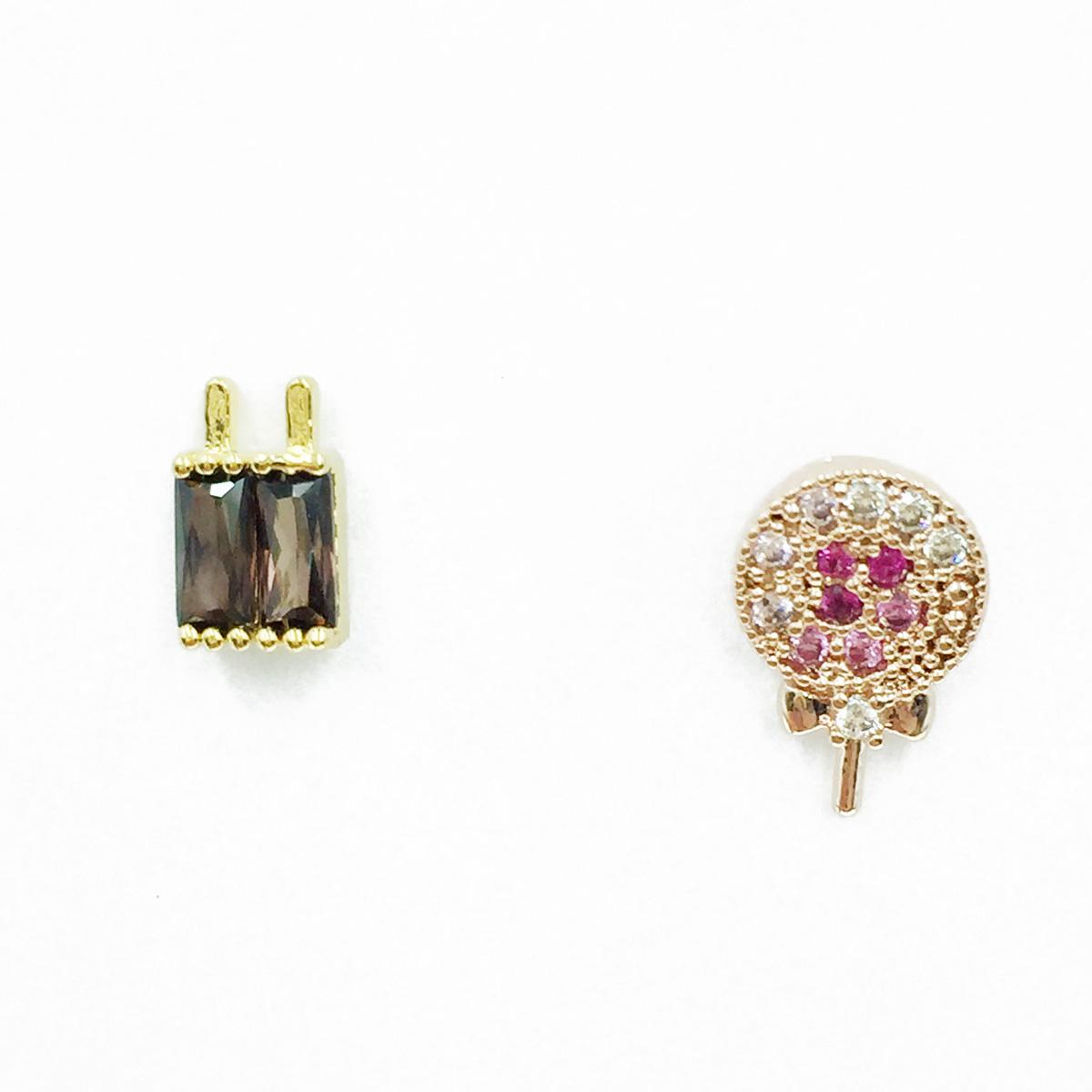 韓國 不鏽鋼 棒棒糖 水鑽 單支後轉 耳針式耳環