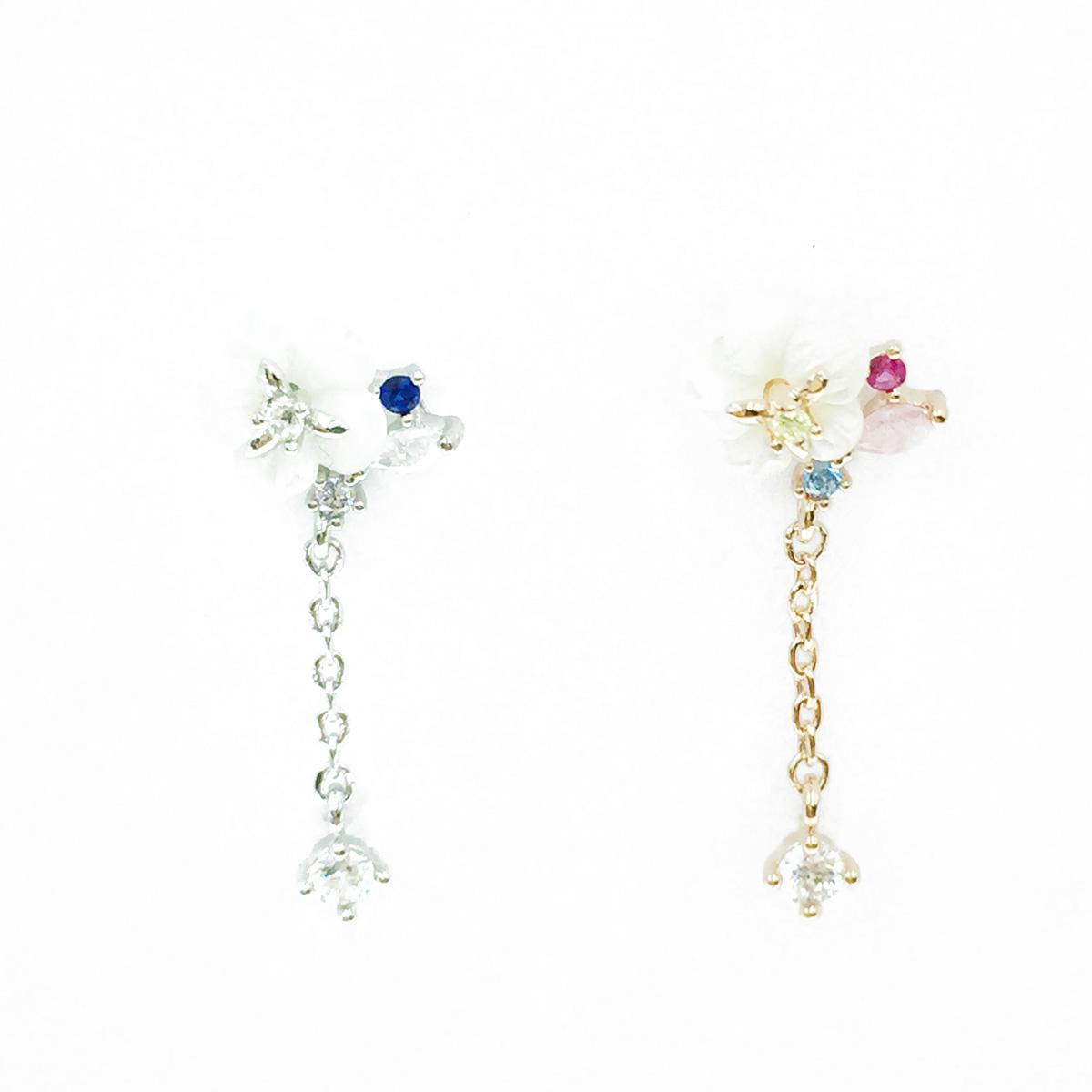 韓國 不鏽鋼 小白花 水鑽 單支後轉 垂墜感 耳針式耳環
