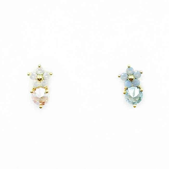 韓國 不鏽鋼 花 水鑽 2色 單支後轉 耳針式耳環
