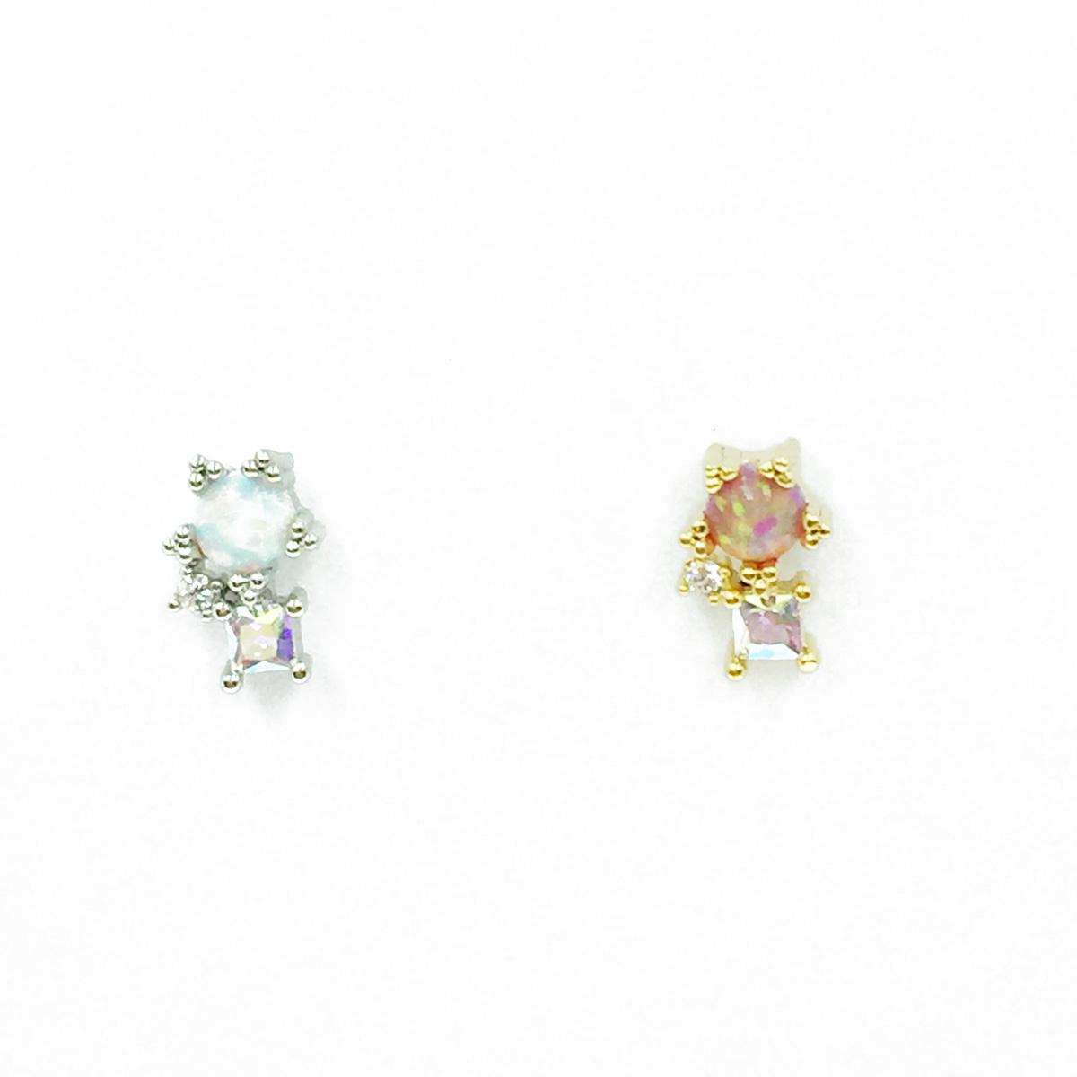 韓國 不鏽鋼 水鑽 2色 單支後轉 耳針式耳環