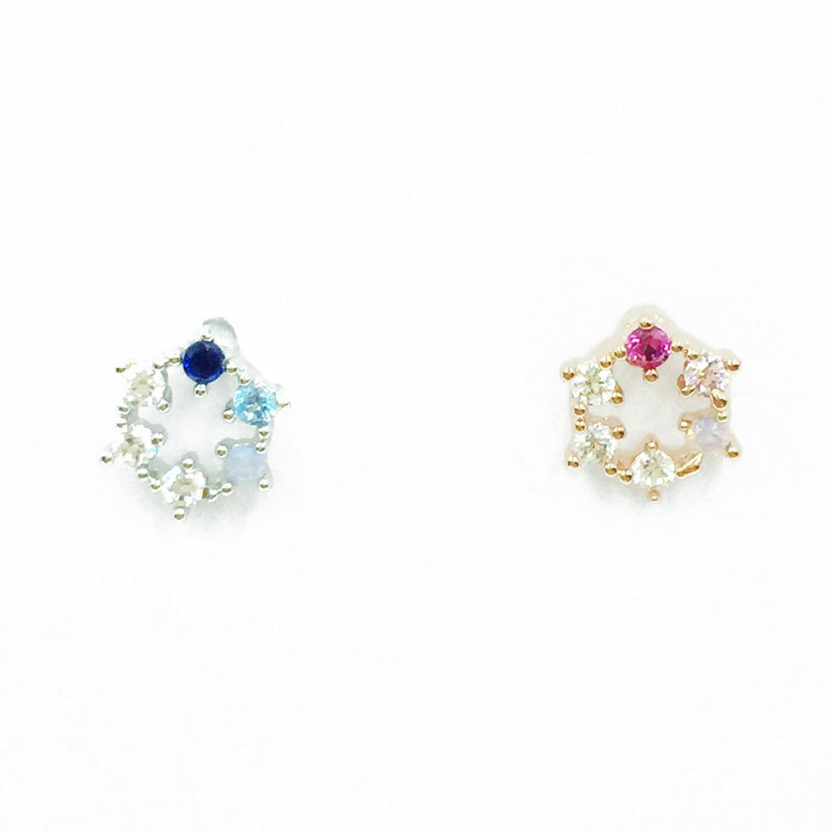 韓國 不鏽鋼 水鑽 漸層 2色 單支後轉 耳針式耳環