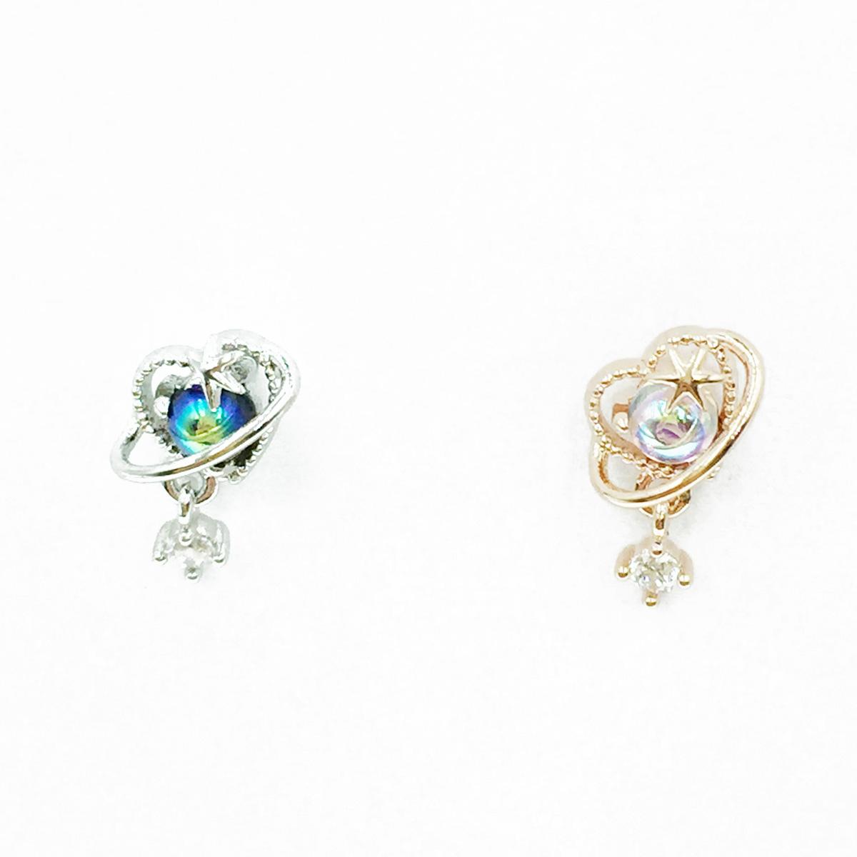 韓國 不鏽鋼 愛心 星星 水鑽 2色 單支後轉 垂墜感 耳針式耳環