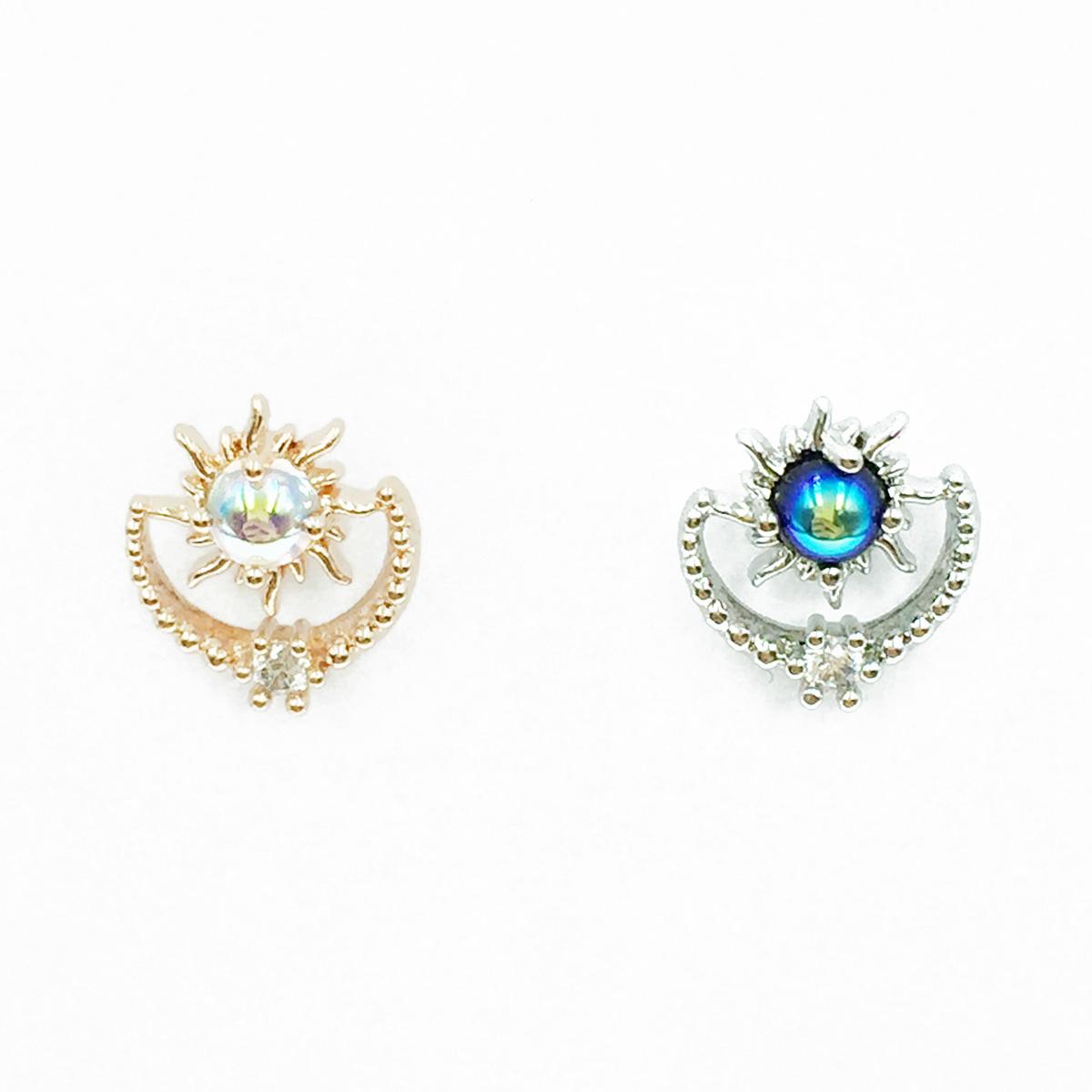 韓國 不鏽鋼 月亮 水鑽 2色 單支後轉 耳針式耳環
