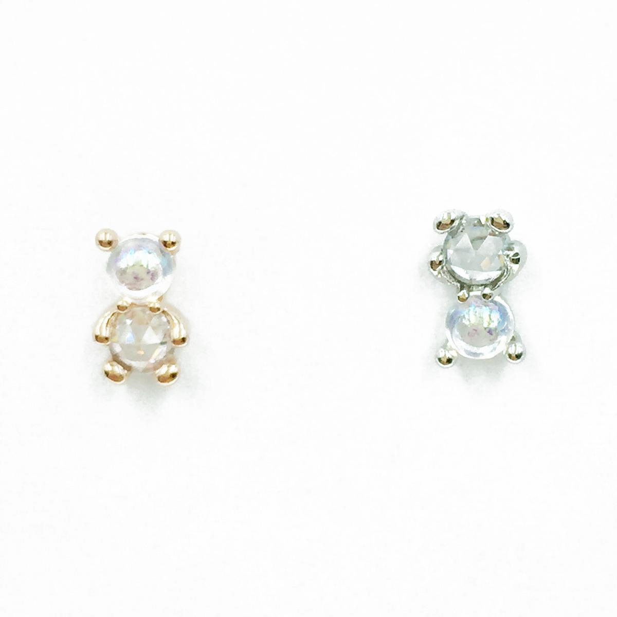 韓國 不鏽鋼 熊 水鑽 2色 單支後轉 耳針式耳環