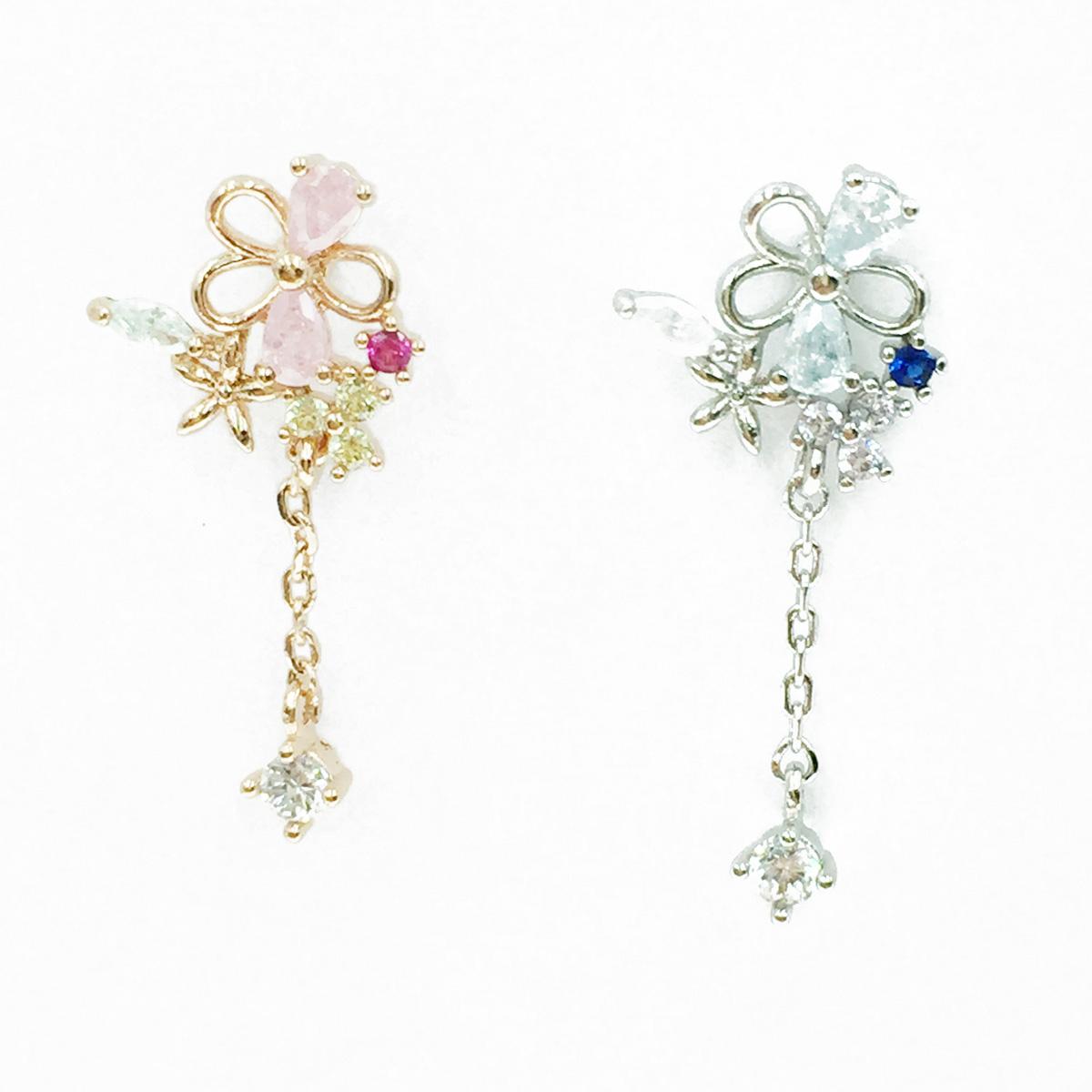 韓國 不鏽鋼 花 水鑽 2色 垂墜感 單支後轉 耳針式耳環