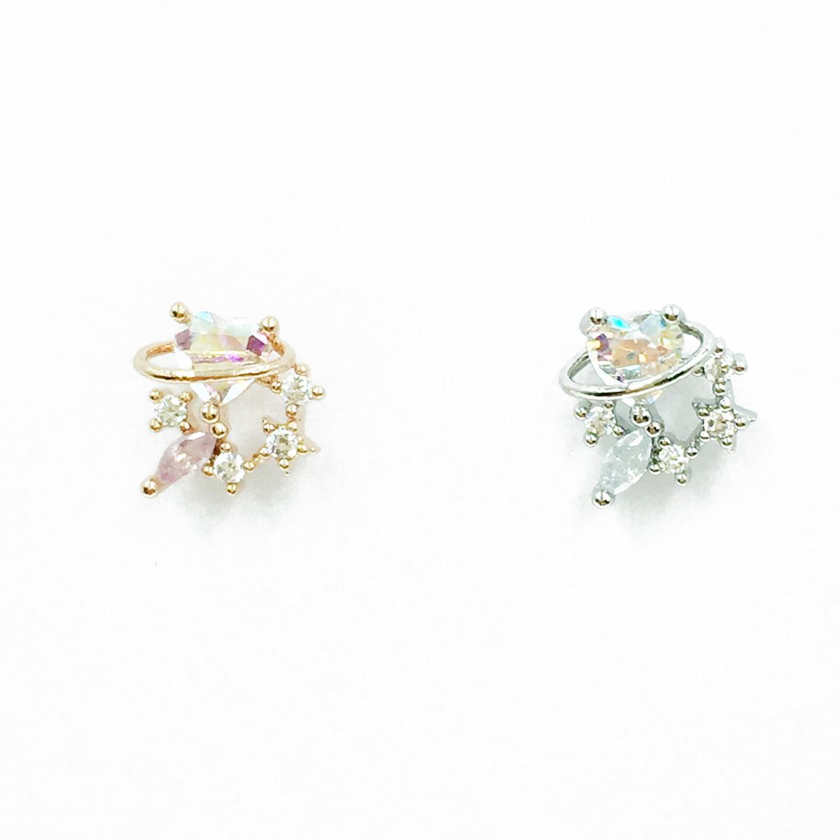韓國 不鏽鋼 愛心 星星 水鑽 2色 單支後轉 耳針式耳環