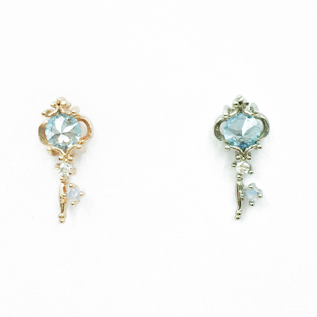 韓國 不鏽鋼 鑰匙造型 水鑽 2色 單支後轉 耳針式耳環