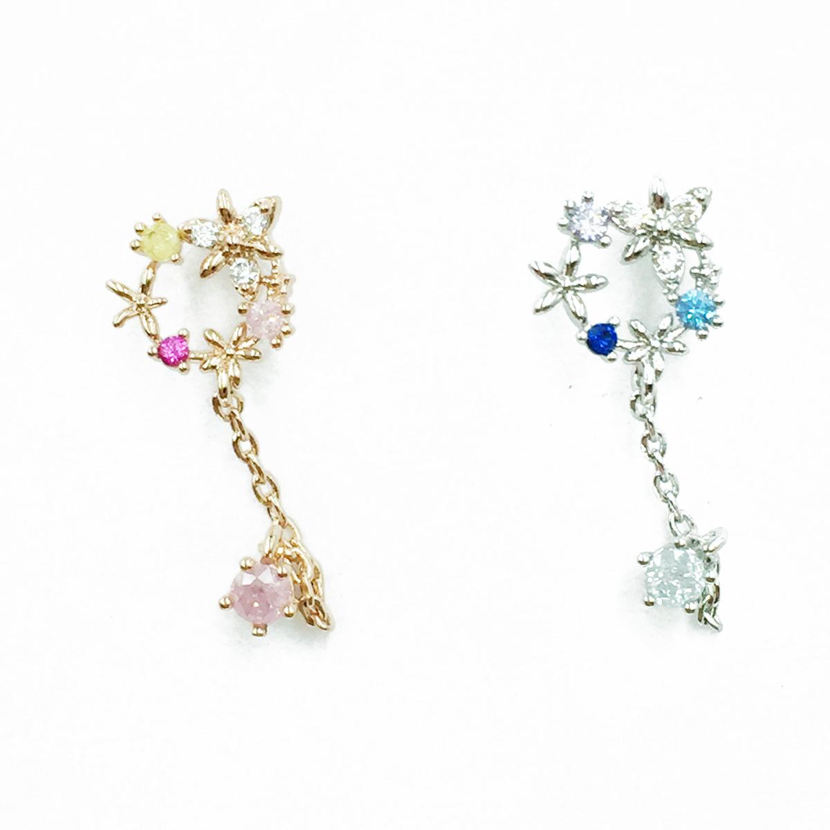 韓國 不鏽鋼 花 水鑽 耳環鍊 2色 後轉 耳針式耳環
